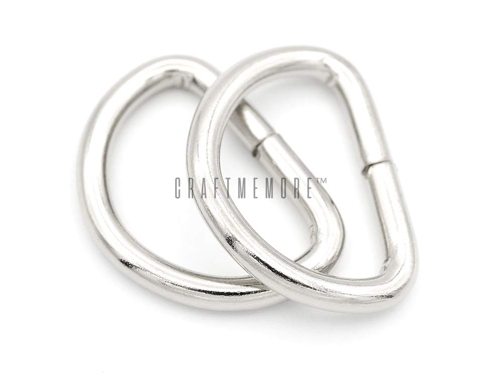 CRAFTMEmore D-Ring Findings Metal Non Welded D Rings for Belts Bags Landyard Leathercraft Available 4 Colors 1 1/4 & 1 1/2 Inches (1 1/2'' x 100 Pack, Silver)