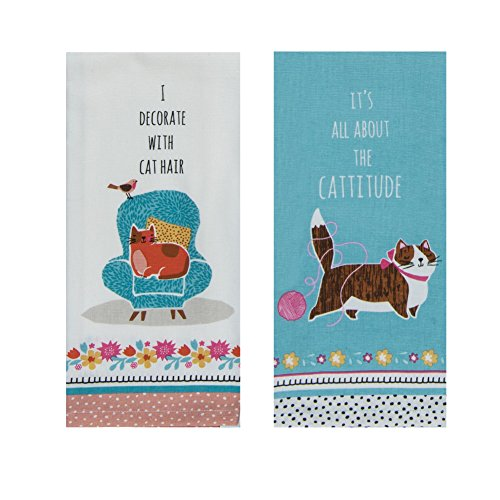 Cat Dish Towels - Cat Kitchen Decor for the Cat Lover - Set of 2