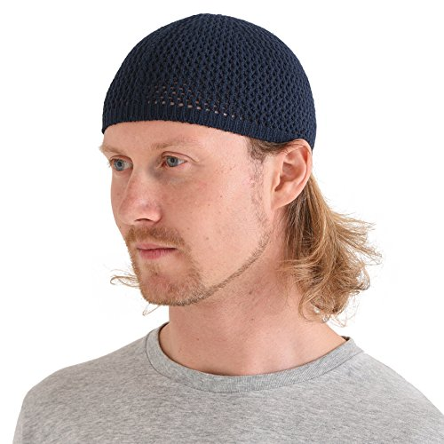 CHARM Silk Kufi Hat for Men - Stretchy Skull Beanie Cap Handmade in Japan Snug Brain Dad Hat Navy