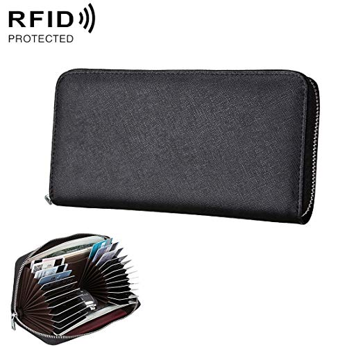 XIANCHUAN Antimagnetic RFID Actual Leather Passport/Card Holder/Car Samara Package Wallet (Color : Black) ()