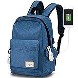 Travel Laptop Backpack USB Charging Port, Modoker School Bookbag College Travel Backpack Women Men (Blue)