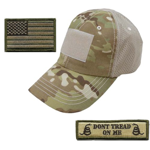 Gadsden and Culpeper Operator Cap Bundle - w USA/Dont Tread Patches (Multicam Cap - Mesh) ()