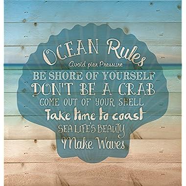 Ocean Rules Seashell Beach Design 12 x 12 Wood Pallet Design Wall Art Sign Plaque