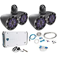 Pair Dual Kicker 43KM654LCW 6.5 780w LED Wakeboard Speakers+4-Channel Amplifier