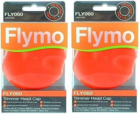 Genuino FLYMO Contorno 500XT 600HD 500 700 Podadora Cortasetos Tapa Del Cabezal (FLY060, Pack de 2)
