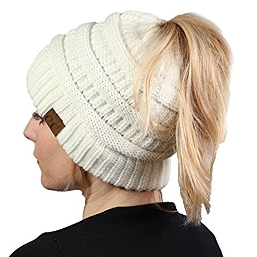 Aiyo Nice BeanieTail Womens Ponytail Messy Bun Beanie Solid Ribbed Warm Soft Knit Hat Cap (White) (Ribbed Beanie White)