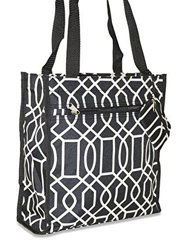 Ever Moda Geometric Tote Bag (Black) (Nylon Bag Tote Denier)