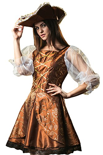 Women's Caribbean Lady Pirate Buccaneer Ship Mate Dress Up & Role Play Halloween Costume (Medium) (Cheap Costume Ideas Halloween)