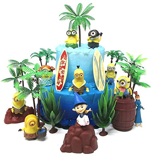 Cake Toppers Despicable Me Minions Themed Birthday Set Featuring Figures and Decorative Themed Accessories ()
