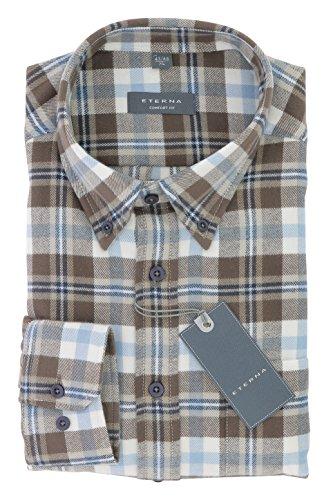 ETERNA Herren Flanell Hemd aus 100% Baumwolle langarm mit Button-Down Kragen Comfort Fit Gr. XL Braun Blau Weiss Kariert - Bügelleicht