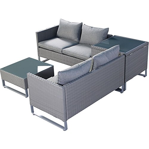 4PCS Gray Rattan Wicker Patio Sofa Cushion Seat Set Furniture Lawn Outdoor (Regency Cherry Cabinet)