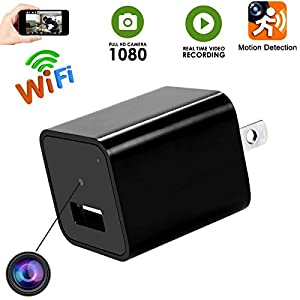 Wifi Hidden Spy Camera -1080P HD USB Wall Charger Hidden Camera -Plug In Mini Nanny Cam -Motion Detection [US to EU Travel Adapter Included] For Home Security-Kids ,Pets Monitoring -Latest Version