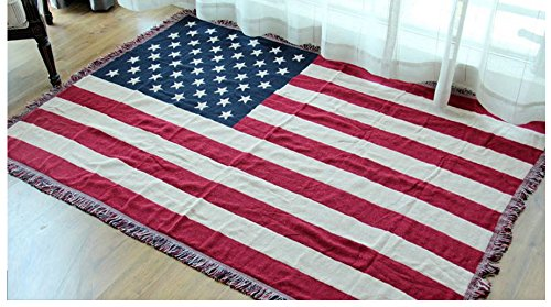 American flag Sofa Slipcover Furniture Protector Home Decor - with Fringe Cotton by HugeHug(90x98 inch) by HugeHug