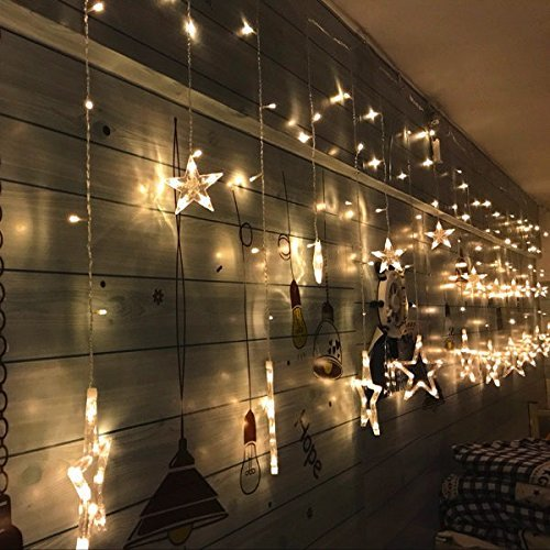 elegear 12 stars christmas fairy lights curtain led string lights for windows outdoor indoor festival decorations