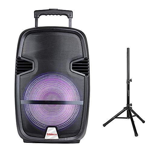 Shinco 12-inch woofer Bluetooth PA Speaker System Portable Loudspeaker with Microphone, Colorful light (12 inch Speaker with Tripod)