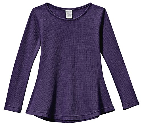 City Threads Little Girls' Thermal Long Sleeve Tunic Shirt Tee Dress for School Party Play, Purple, 6