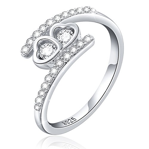 Double Loving Heart Ring - LINLIN FINE JEWELRY Heart Ring 925 Sterling Silver White Cubic Zirconia Eternity Love Heart Charm Ring Gift for Women,Size 7