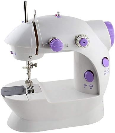 RZChome Mini máquina de coser portátil fácil de usar para principiantes velocidad doble hilo con pedal de pie mano máquina de bordado de costura, costura recta: Amazon.es: Hogar