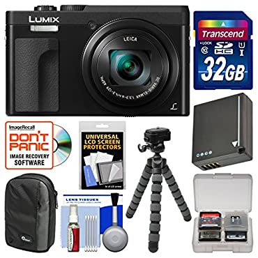 Panasonic Lumix DC-ZS70 4K Wi-Fi Digital Camera (Black) with 32GB Card + Case + Battery + Tripod + Kit