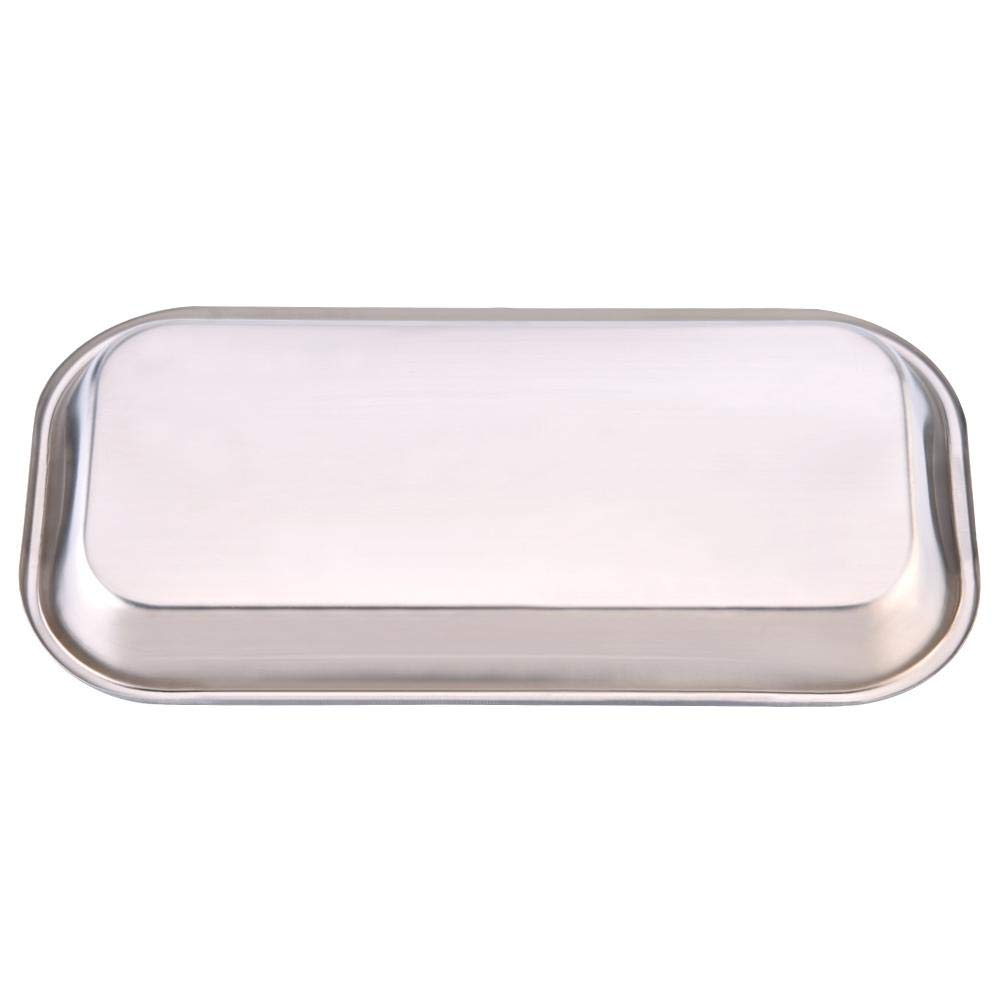 Rectangular 201 Stainless Steel Dental Holder Plate Dish Medical Instrument Tray Surgical Tray for Clinic Lab 8.85 x 4.52 x 0.78 New Dental Tray