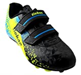 T&B Kid Soccer Cleats Light Weight Running Soccer Cleat Shoes Black/Green No.76660A-Hei-37-5.5US