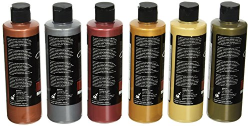 """Chroma 1969 Molten Metals Acrylic Paint Set, 8 Oz. Bottle, Assorted Color, 6.75"""" Height, 4"""" Width, 6"""" Length (Pack Of 6)"""