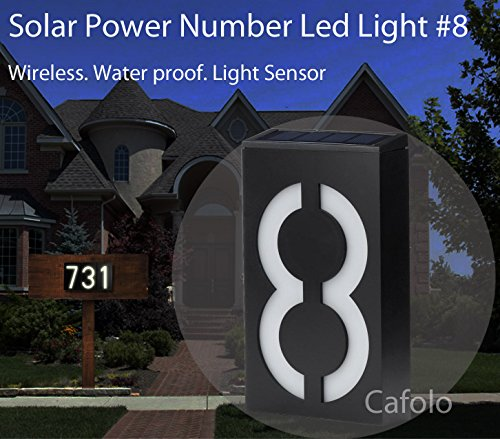 Solar Powered House Address Number LED Light, Bright Wireless Custom House Plaque Plate - Waterproof Light Sensor -for Patio Path House Garden-Number #8~ by Cafolo (Led Address Solar Light)