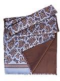 Elizabetta Men's Italian Silk Scarf - Soft Wool Lined - Blue & Brown Paisley
