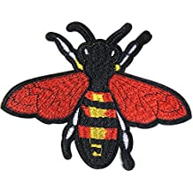 """6.5"""" Wasp Bee Hornet Insect Animal Patch Iron on Sewing Craft Embroidered Applique Fabric DIY Decorate Handmade Women Girl Jacket T shirt Hoodie Clothing Accessories Gift Collection (red)"""