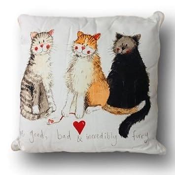 Hermoso gato cojines por funda Alex Clark, indio algodón, retardante de fuego: Amazon.es: Hogar