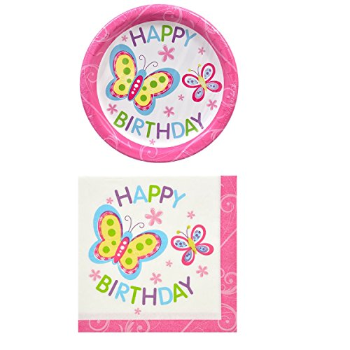 Happy Birthday Butterfly Theme Party Pack - 18 Plates & 20 Napkins St3]()