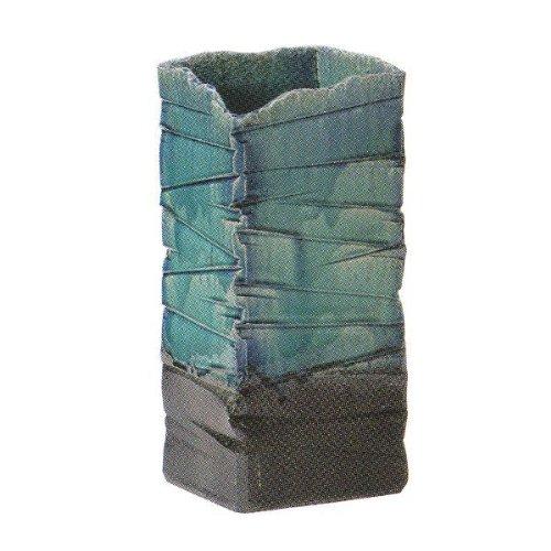 陶器の傘立て 信楽焼 青ガラス角型傘立 B005F7H0HY