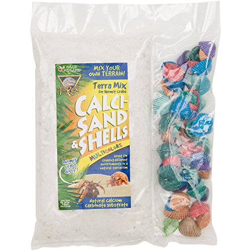 T-rex Sand Naturals (T-Rex Crab Island Terra Mix Hermit Crab Calci-Sand & Multi-Color Shells, 2.25 lbs.)