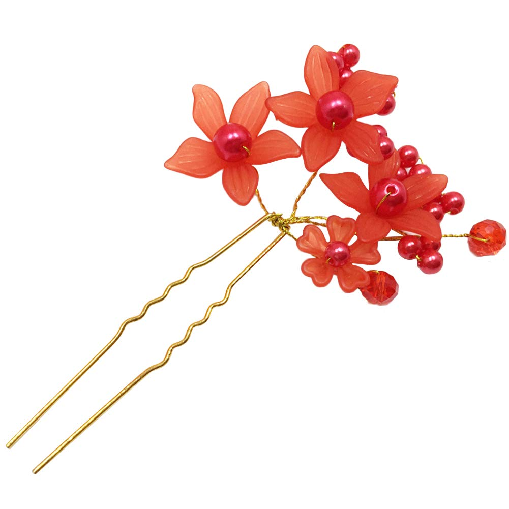 U-Shape Bride Jewelry Flower Faux Pearl Wedding Hair Pin Clip Party Headwear - Red ruiycltd