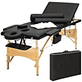 Best Choice Products Portable 84'' Tri-Folding Massage Table Bed Set With Cover- Black