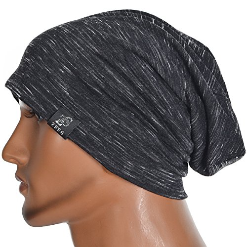 Chic Striped Thin Baggy Slouch Summer Beanie Skull Cap Hat (Black)