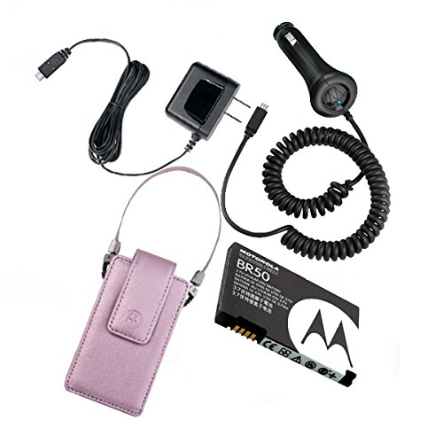 - Combo: Motorola Car Charger (SYN1630), Travel & Home Charger (SPN5404), Ligjt Purple Pouch Leather Case with Strap (SYN1597A), and BR50 Standard Battery!