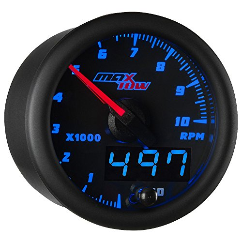 - MaxTow Double Vision 10,000 RPM Tachometer Gauge - for 1-10 Cylinder Gas Powered Engines - Black Gauge Face - Blue LED Illuminated Dial - Analog & Digital Readouts - 2-1/16