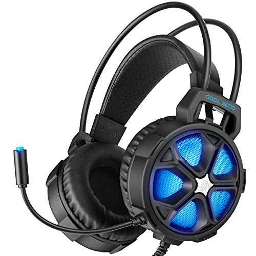 EasySMX Gaming Headset Xbox One Headset with Surround Sound Stereo, PS4 Headset with Mic LED Light, Compatible with PC, Laptop, PS4, Xbox One Controller Adapter Not Included , Nintendo Switch, Mac