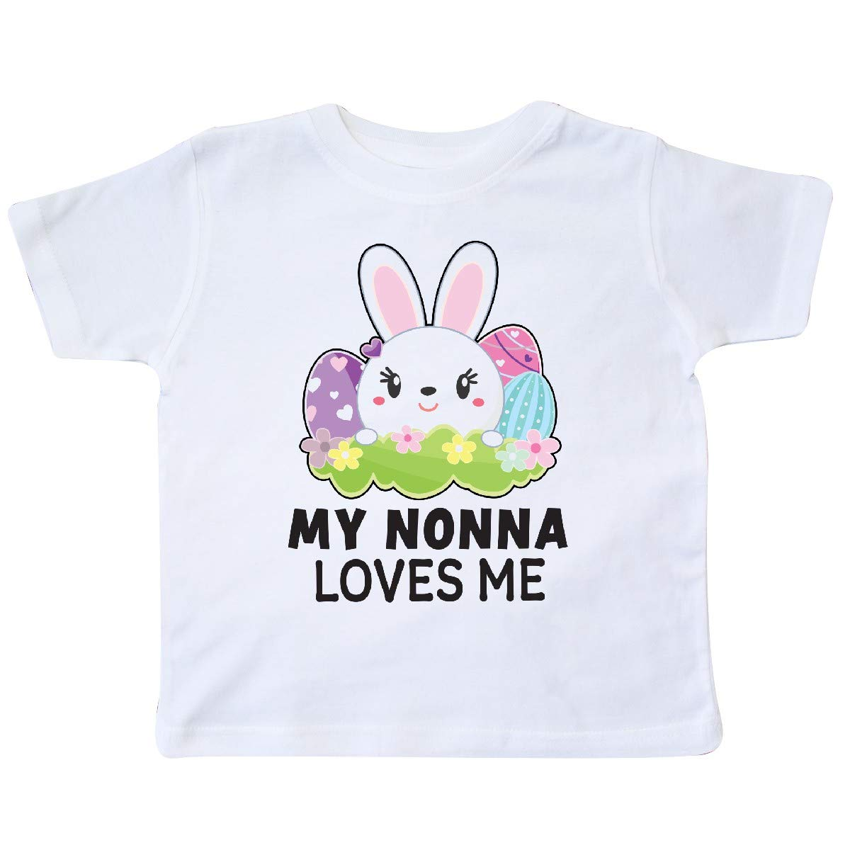 inktastic My Nonna Loves Me with Bunny and Easter Eggs Toddler T-Shirt