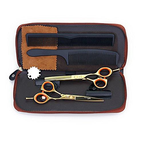 1set professional barber Hair Scissors SMITH CHU (HM76) Cutting & Thinning Scissors Kit 5.5inch, Japanese Steel Shear-Gold & Orange by SMITH CHU