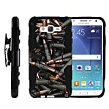 TurtleArmor | Compatible with Samsung Galaxy J7 Case | J700 (2015) [Hyper Shock] Rugged Hybrid Hard Shell Kickstand Fitted Holster Clip Military War Robot Android Design - Black Bullets