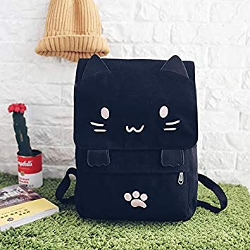 QWKZH Mochilas Casual Women Backpack Canvas School Book Bags for Girls Teenager Cute Cat Printing Back Pack Big Schoolbags Black Back Bag,Pink Cat: Amazon.es: Deportes y aire libre