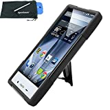 for Sharp Aquos Crystal X 5.5 Hybrid Y Stand Cover Case Stylus Pen ApexGears (TM) Phone Bag. Black
