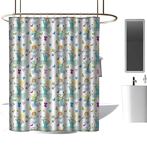 (coolteey Shower Curtains Purple and Green Angel,Elves with Trumpet Flowers Hearts Cupid Butterflies Baby Love Season Nursery Cartoon,Multicolor,W72 x L84,Shower Curtain for Women)