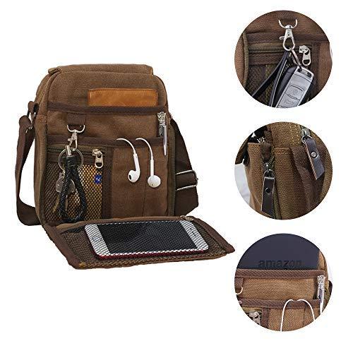 Price comparison product image Canvas Messenger Bag Crossbody Purse Work Shoulder Bag Brown