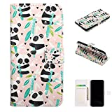 Shinyzone Wallet Case Compatible with Samsung Galaxy S8 Plus,PU Leather Folio Cover with Credit Card Hand Wrist Straps Kickstand Magnetic Shockproof Colorful Design Skin,Bamboo Panda