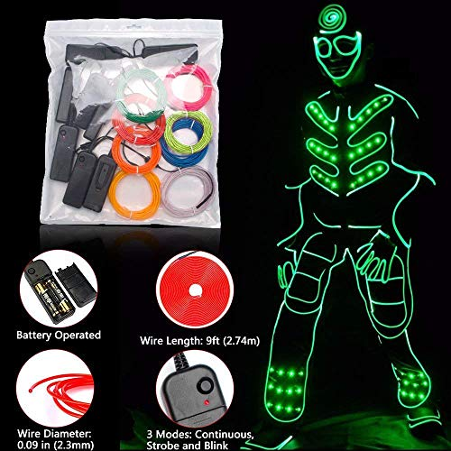 Zitrades EL Wire Kit 9ft, Portable Neon Lights for Parties, Halloween,  Blacklight Run, DIY Decoration (8 Pack, Each of 9ft, Red, Green, Pink,  Lemon
