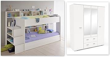 Etagenbett Weiß Mit Bettkasten : Expendio kinderzimmer twin 51 weiß etagenbett mit bettkasten