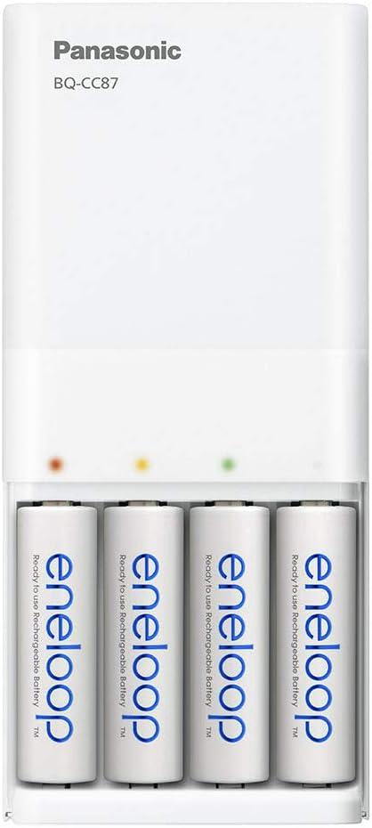 Panasonic eneloop con 2 batterie eneloop AA Cavo USB Incluso Caricatore Micro USB per 2 batterie Ni-MH AA//AAA